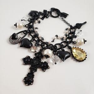 Betsey johnson black cross safety pin bracelet.